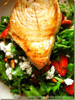 Town Kula strawberry salad with chevre and grilled opah steak