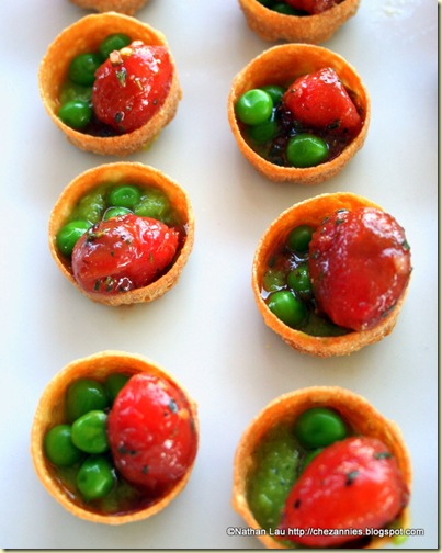 gardiners resort poached tomatoes with peas and pea mint puree