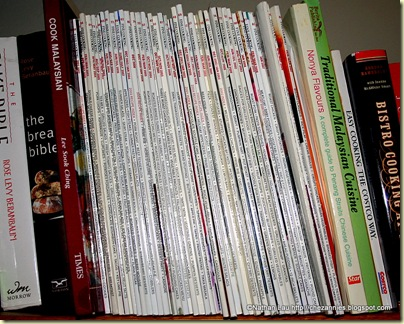 Fine Cooking mags on bookshelf