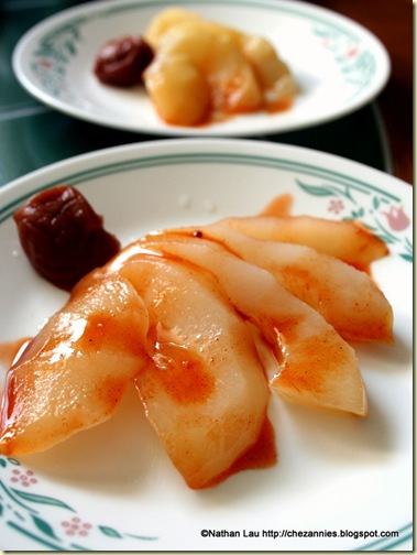 sake-poached asian pears with ume and li hing sauce