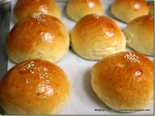 Baked red bean buns - golden brown and delicious!