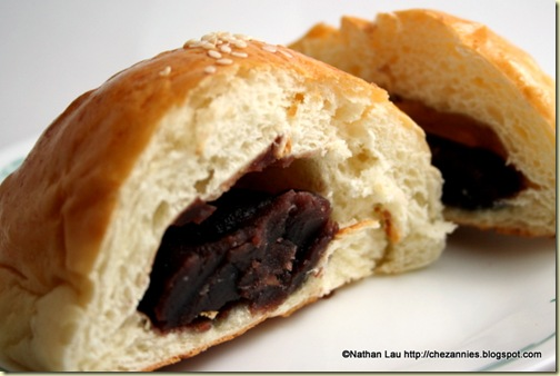 Balanced and baked red bean buns