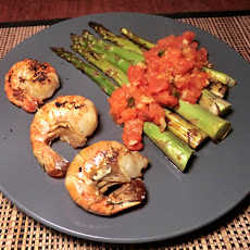 Chinese Chilled Soy-Roasted Asparagus & Shrimp w/ Warm Tomato Sauce