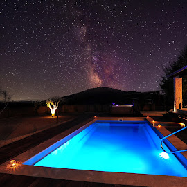 Space pool by Davor Strenja - Buildings & Architecture Homes ( water, sky, exteriors, pool, stars, night, house, space )