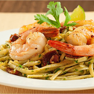 Linguine with Bacon, Shrimp and Avocado-Cilantro Pesto