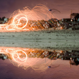 Light Up by Idan Shuster - Abstract Fire & Fireworks ( water, building, reflection, long exposure, fire )