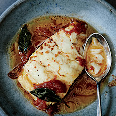Poached Cod with Tomato and Saffron