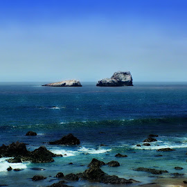 Ocean View by Tricia Scott - Landscapes Waterscapes ( shore, sand, blue, sea, ocean, beach, rocks,  )