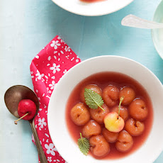 Rainier Cherry Soup With Ginger, Vanilla, Lime And Raspberries
