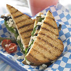 Grilled Eggplant and Portobello Mushroom Sandwich