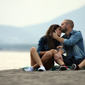 Love never felt so good. by Sead Lika - People Couples ( kissing, laugh, beach, beauty, photography, love, kiss, girl, nature, lovely, couple, photoshoot, perfect, boy )