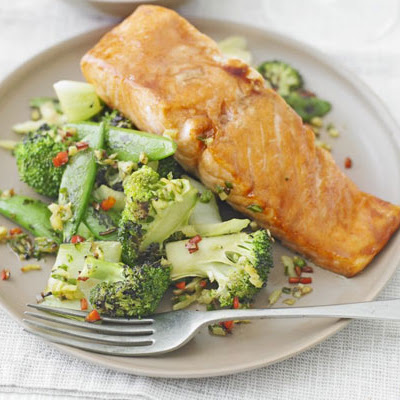 Sticky salmon with Chinese greens