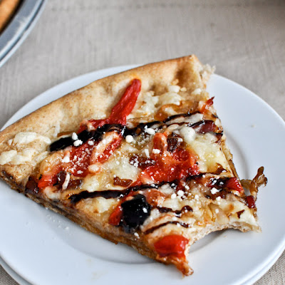 Whole Wheat Roasted Red Pepper + Fontina Pizza with Balsamic Glaze
