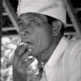 Bali Man Has Taste by Gusti Ngurah Wahyu Wibowo - People Portraits of Men ( black and white, men, portrait )