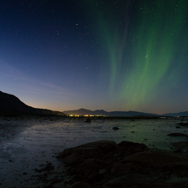 Aurora season is starting by Ann-Kristin Heimly - Landscapes Starscapes ( stars, fall, aurora borealis, beach, norway )