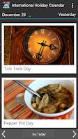 Screenshot of International Holiday Calendar
