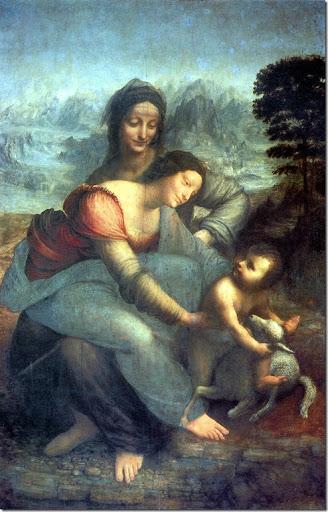 Leonardo di ser Piero DA VINCI - La Vierge à l'Enfant avec sainte Anne