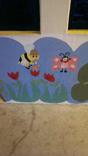 Happy Butterfly and Hardworking Bee Mural