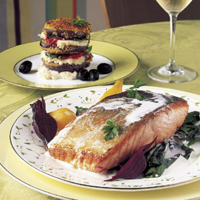 Arctic Char with Horseradish Cream, Sweet-and-Sour Beets, and Dandelion Greens