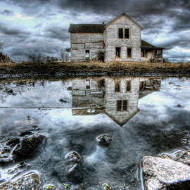 Forgotten Reflection by Eric Demattos - Buildings & Architecture Decaying & Abandoned ( farm house, reflected, puddle, storm, abandoned )