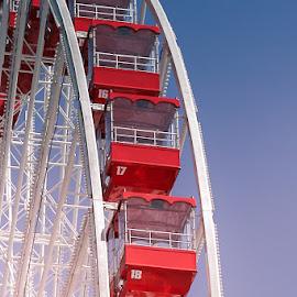 Around and Around by Jennifer Bacon - City,  Street & Park  Amusement Parks ( park, blue skies, red cars, sun, ferris wheel )