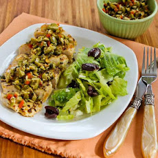 Pan-Grilled Chicken with Green Olive, Caper, and Lemon Relish