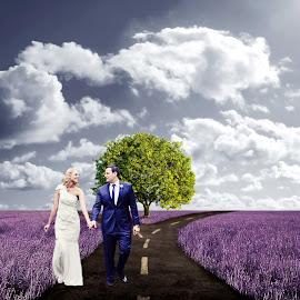 Walking by Alan Evans - Digital Art People ( wedding photography, wedding day, wedding, aj photography, bride and groom, marriage, bride, groom )