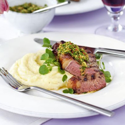 Griddled Rump Steak With Watercress, Hazelnut & Red Chilli Pesto