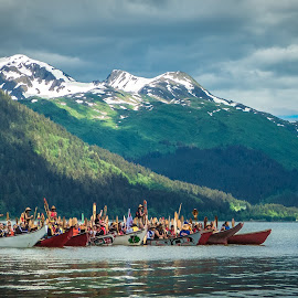 Coming Home by William Thompson - People Group/Corporate ( water, alaska, celebration, canoes, natives )