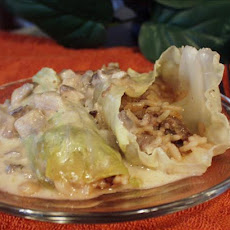 Spicy Stuffed Cabbage Rolls in Mushroom Gravy Sauce
