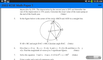 Screenshot of KCSE Math Questions