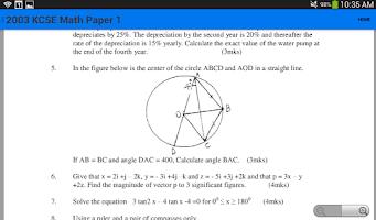 Screenshot of KCSE Math Questions