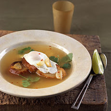 Garlic Soup with Poached Eggs