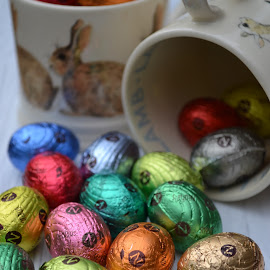Choccie eggs by Heather Aplin - Food & Drink Candy & Dessert ( cup, mug, rabbit, chocolate, easter, eggs, bunny, lamb, spring )