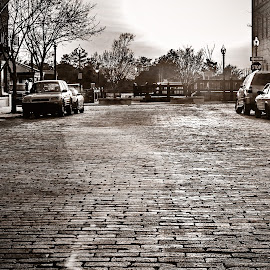 The old ways by Dale Foshe - City,  Street & Park  Street Scenes ( car, old, building, black and white, brick, street, road )