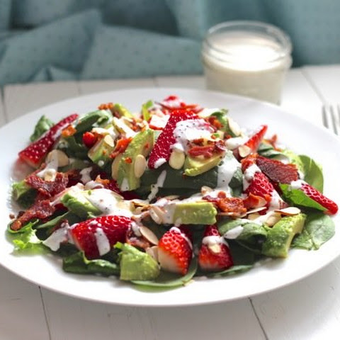 Bacon, Avocado & Strawberry Salad with Greek Yogurt Poppyseed Dressing