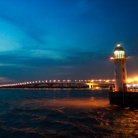 Lighthouse by Charles Parulian - Novices Only Landscapes ( photoshop express, night scene, lighthouse, low light, nice landscape, landscape, pretty, lens, canon eos, raffles marina, tuas link, beautiful landscape, light house at night, low light photography, tuas, night shot, travel photography )