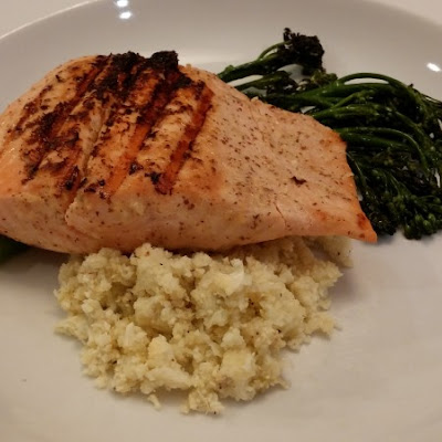 Grilled Salmon with Broccolini and Cauliflower Rice