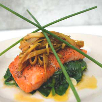 Gluten Free Salmon with Braised Leeks and Spinach