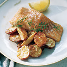 Roasted Salmon and Potatoes with Dill