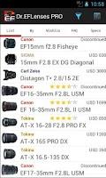 Screenshot of Dr.EFLenses Canon DSLR Partner
