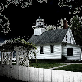 Old Mission Point Lighthouse by Betty Arnold - Buildings & Architecture Homes ( waterscape, old mission point lighthouse, lighthouse, landscape )