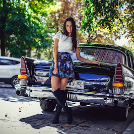 vintage car by Oleg Nagel - People Fashion ( car, fashion, model, girl, style, vintage, woman, outdoor, beauty )