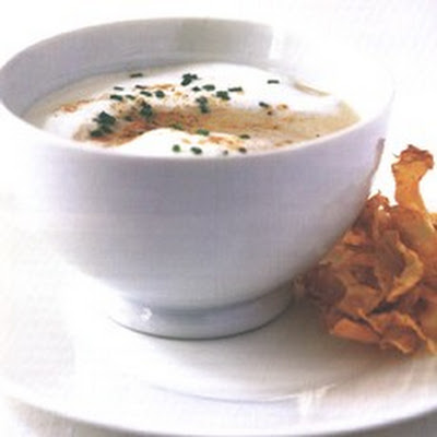 Celeriac and Chestnut Soup with Celeriac Crisps