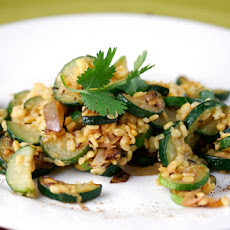 Zucchini with Lentils and Roasted Garlic