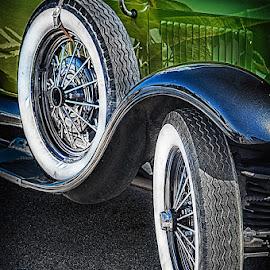 Old car by MIhail Syarov - Transportation Automobiles ( car, old, wheel, blue, green, automobile, retro, tire,  )
