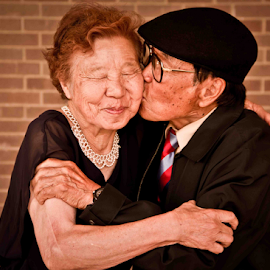 Japanese Love by Matthew Chambers - People Couples ( love, kiss, couple, senior )