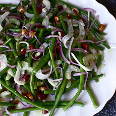 Green Bean Salad with Pickled Red Onions and Fried Almonds