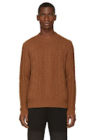 Undercover Burnt Sienna Wool Cable Knit Zip Sweater