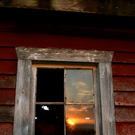 Sunset In The Barn Window by Kathleen Koehlmoos - Novices Only Objects & Still Life ( farm, iowa, barn red, beautiful sunset reflection, barn, iowa farmland, beautiful sunset, old barn, northwestern iowa,  )
